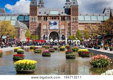 Amsterdam, Netherlands - April, 2017: Rijksmuseum view with sign I Amsterdam in Amsterdam city, Netherlands