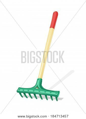 Garden rake Agriculture tool. Ground Cultivator. Housekeeping equipment. Isolated white background. Vector illustration.