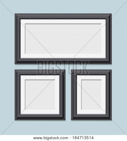 Square Black Photo Frames Set