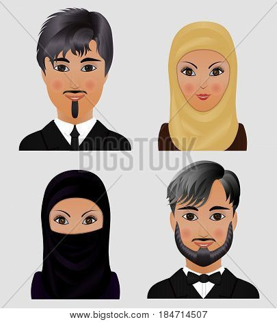 Collection of vector avatars Muslim men and women. Faces of Arab people.