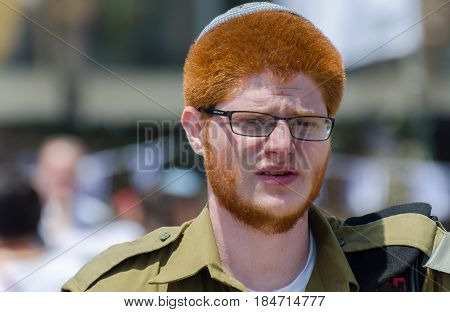 LATRUN ISRAEL - MAY 02 2017: Unidentified israeli redhead soldier at Latrun Armored Corps Museum