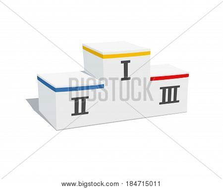 Winners pedestal. Stage for rewarding. Sports champions podium. Isolated white background.