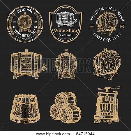 Wooden barrels collection for alcohol drinks icons or signs. Hand sketched kegs emblems. Whiskey, beer, wine logotype set.