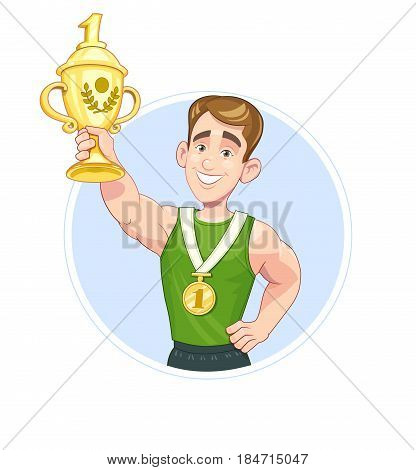 Winner sportsman with cup and medal, isolated white background.