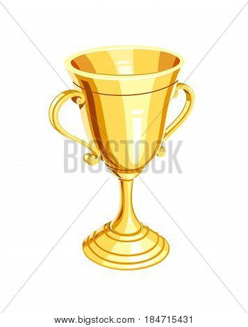 Gold champion cup. Golden Winner Prize. Sports win trophy. Isolated white background.