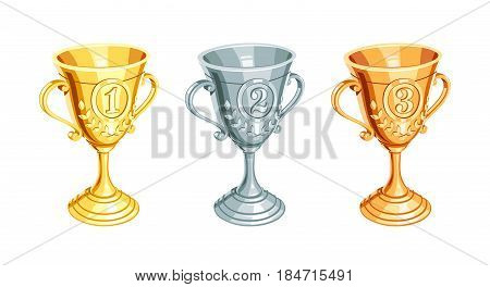 Gold, bronze, silver champion cup. First, second, third Winner Prize. Set of Sports win trophy. Isolated white background.
