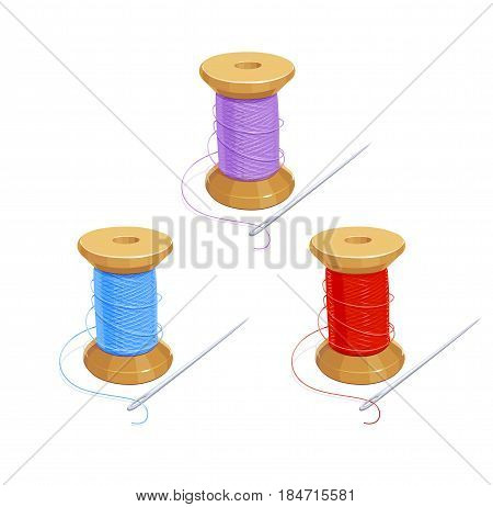 Colored thread reel with needle. Cotton for needlework. Sewing tools. Isolated background.