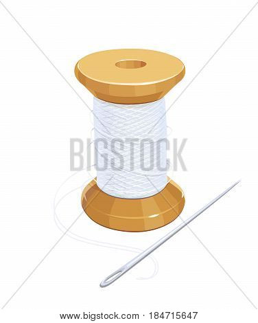 White thread reel with needle. Cotton for needlework. Sewing tools. Isolated background. Vector illustration.