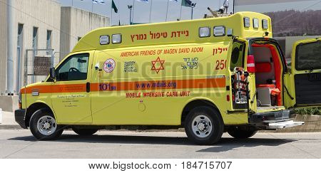 LATRUN ISRAEL - MAY 02 2017: Israeli ambulance intensive car called