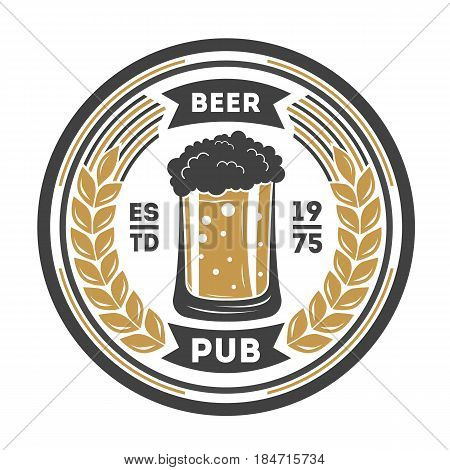 Beer pub vintage isolated label vector illustration. Traditional brewing company symbol, premium quality alcohol product sign, craft beer badge with mug.