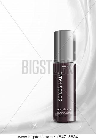 Skin moisturizer cosmetic design template with vinous realistic bottle on gray soft wavy light lines background. Vector illustration