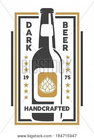 Handcrafted beer retro isolated sign vector illustration. Traditional brewing company symbol, premium quality alcohol product, craft beer badge with bottle.