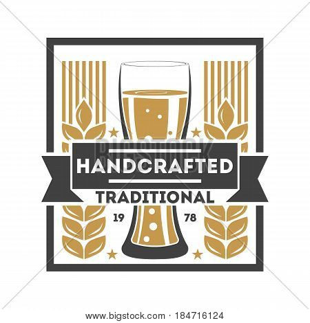 Handcrafted traditional beer retro isolated logo vector illustration. Traditional brewing company symbol, premium quality alcohol product, craft beer badge with mug.