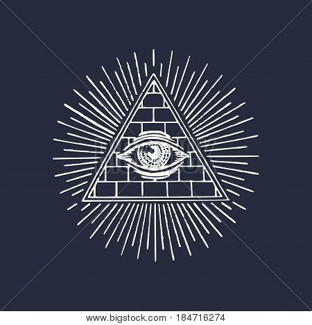 Freemasonry pyramid all-seeing eye. Engraving masonic logo. Vector Eye Of Providence illustration. Symbol Omniscience, new world order emblem.