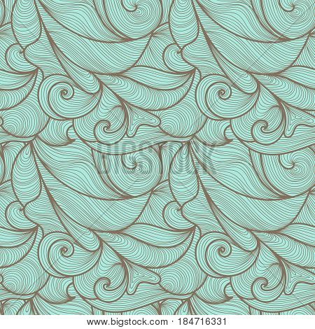 Seamless abstract hand-drawn waves pattern wavy background. Clouds or sea ocean waves. Seamless pattern can be used for wallpaper pattern fills web page backgroundsurface textures. Gorgeous seamless floral background