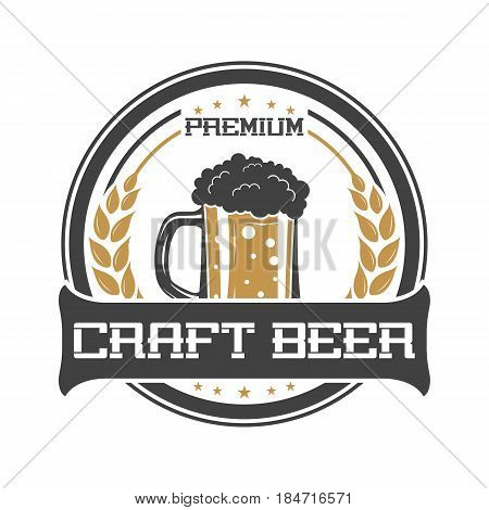 Craft beer vintage isolated sticker vector illustration. Traditional brewing company symbol, premium quality alcohol product, craft beer badge with mug.