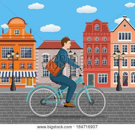City style businessman with bag riding bicycle the streets of the old town. Bike to work poster. Including beautiful european cityscape background.