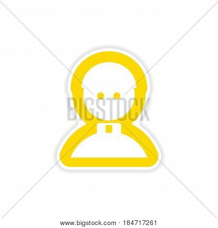 paper sticker on white background Catholic priest man