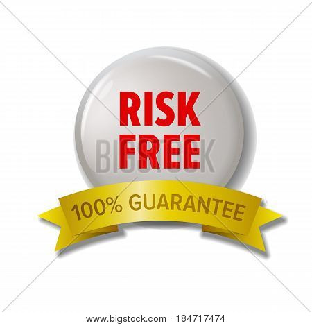 White round label with red text 'Risk Free - 100 percent guarantee'. Customer safety or money back tag for online shops and web stores. Vector design element isolated on white background with shadow.
