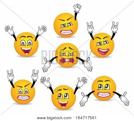 Cartoon cute emoticons with hands gesture set. Happiness, anger, joy, fury, sad, playful, fear, surprise smiley, fun comic faces with different facial expressions. Isolated vector emoji characters