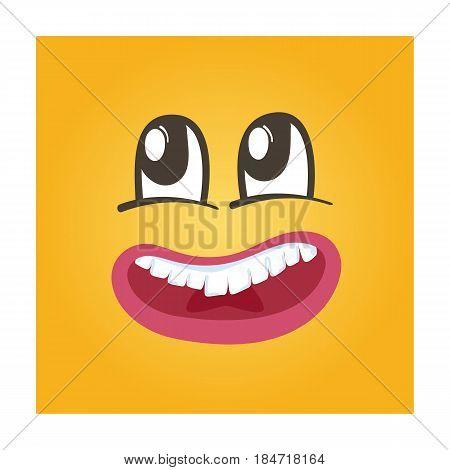 Dreamy smiley face vector icon. Funny facial expression emoji, cute comic emoticon isolated vector illustration.