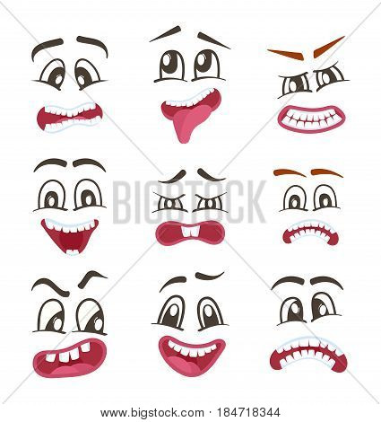 Smiley faces with different facial expressions set isolated vector illustration. Happiness, anger, joy, fear, surprise smiley, eyes and mouth, fun comic faces. Emoji characters, cartoon cute emoticon