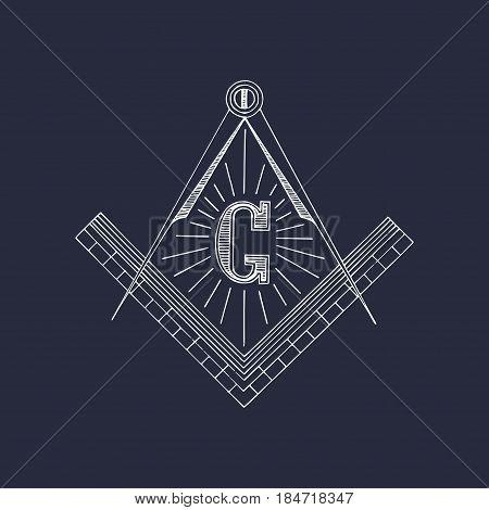 Masonic square and compass symbols. Hand drawn freemasonry logo, emblem. Illuminati vector illustration