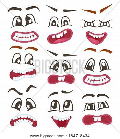 Funny emoticons or vector isolated smileys icons set for web. Cute smiley faces with different facial expressions. Happiness, anger, joy, fear, surprise smiley, comic yellow faces, emoji characters.
