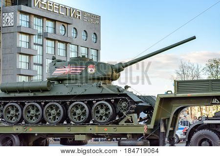 MOSCOW, RUSSIA - MAY 3, 2017: Rehearsal of the Victory Day 9 May parade at Tverskaya street, with Russian historical military vehicles