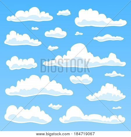 Collection of cartoon clouds isolated on blu background. Can be used for patterns, sky landscapes, game design and other.