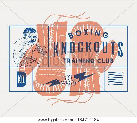 Vector boxing concept of gloves and knockdowns