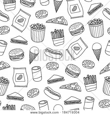 Black and white seamless pattern with outline hand drawn fast food meals.