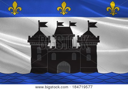 Flag of Bellac is a commune in the Haute-Vienne department in the Nouvelle-Aquitaine region in western France. 3D illustration