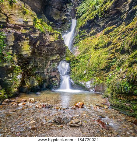 St Nectans Kieve waterfall in St Nectan's Glen valley in North Cornwall;