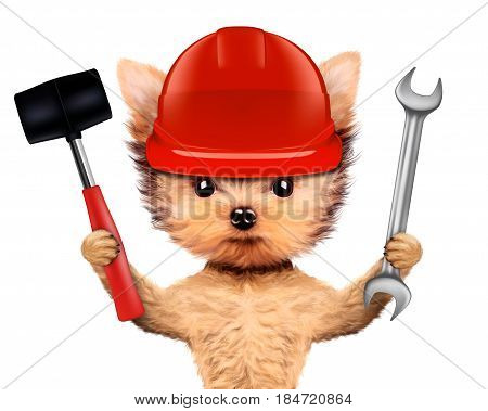 Funny dog with wrench and hammer isolated on white background. Constructor and handyman concept. 3D illustration