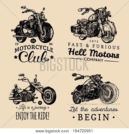 Custom chopper and motorcycle logotypes set. Detailed illustrations for biker badges or labels. Vintage inspirational posters, t-shirt prints collection for MC, garage etc.