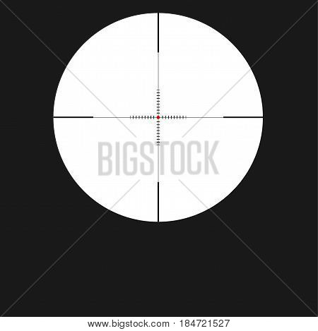 Crosshair sight icon, reticle with red dot. Sight sniper symbol isolated on white background, vector illustration.