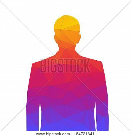 Accurate silhouette of a man from colored triangles for profile picture. Silhouette of a man waist-deep with a neat hairstyle on white background.
