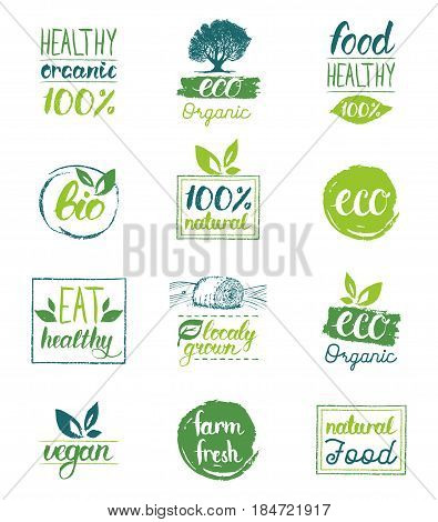 Vector eco, organic, bio logo cards templates. Handwritten healthy eat icons set. Vegan, natural food and drinks signs. Farm market, store labels collection. Raw meal badges.