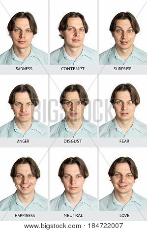 A full chart of human microexpressions. A Caucasian male showing sadness, contempt, surprise, anger, disgust, fear, happiness, love, and a neutral expression