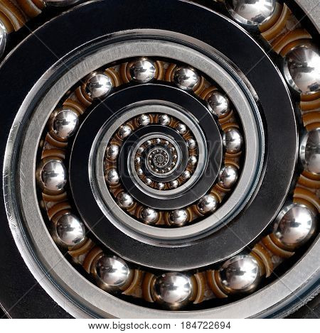 Beautiful unusual Industrial clockwise Spiral Ball Bearing. Droste Spiral level effect bearing manufacturing technology. Abstract fractal pattern background. Bearings futuristic fractal Droste effect