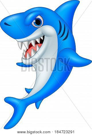 Vector illustration of Cartoon funny shark on white background
