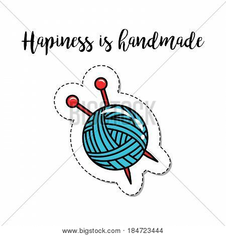 Fashion patch element with quote, Hapiness is handmade. Vector illustration