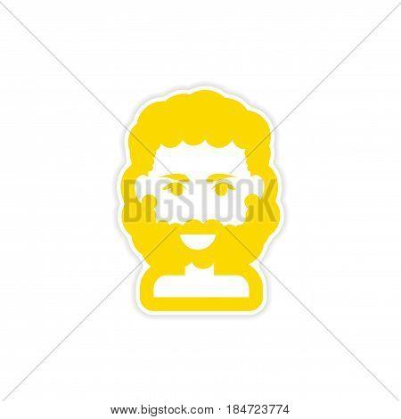 paper sticker on white background men's haircut