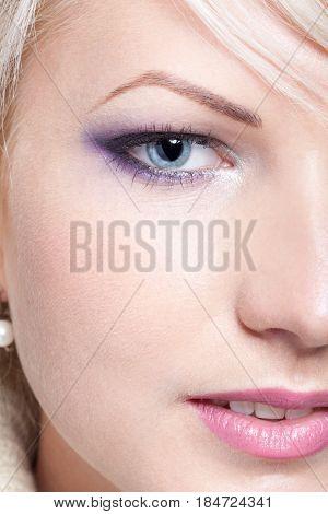 Half Face Portrait Of Beautiful