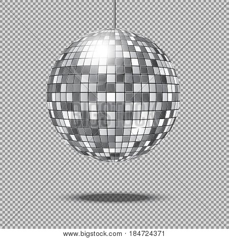 Mirror glitter disco ball vector illustration. Disco glitter ball for club decoration, shine and bright ball