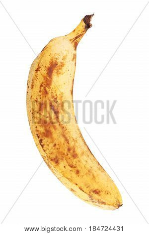 Overripe banana isolated on white background closeup