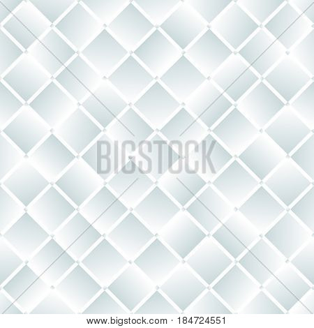 White glass or mirror squares geometric seamless pattern, vector background