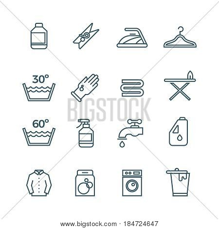 Clean laundry and dryer service vector line icons. Laundry icons set, illustration of temperature mode for laundry