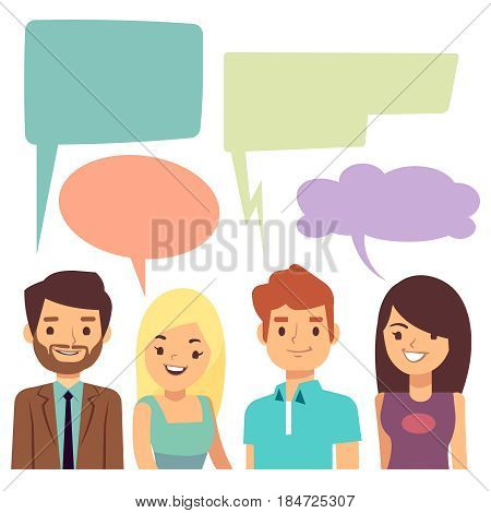 Vector conversation concept with people and blank thinking bubbles. Cartoon people conversation speech bubble, illustration of discussion people